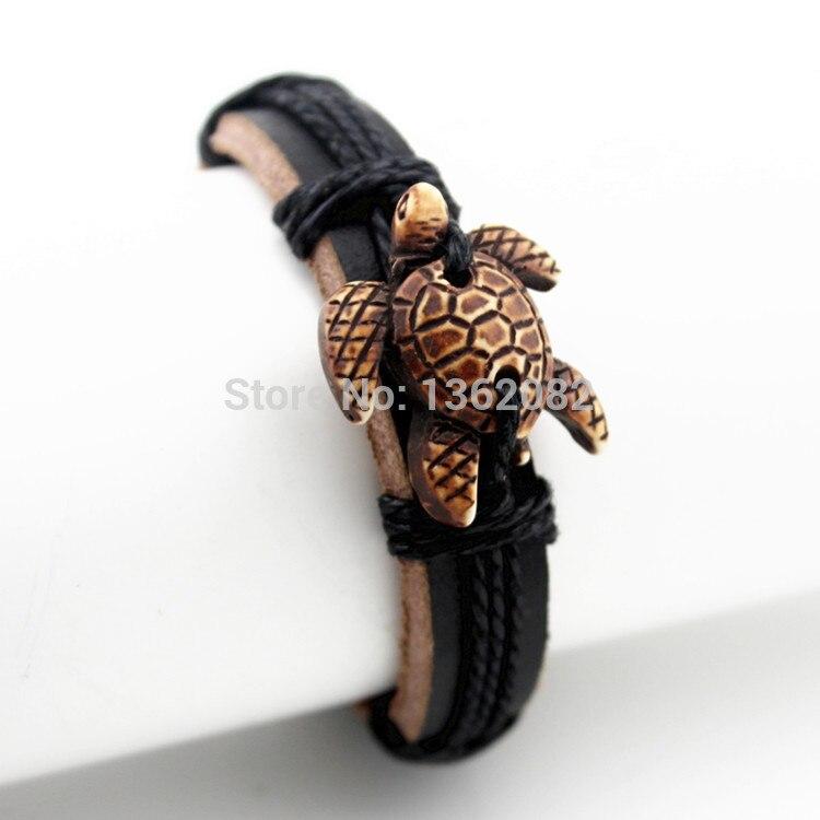 Прохладный Племенной имитация резной кости милые морские черепахи Кожаные браслеты браслет-серфер подарок MB154