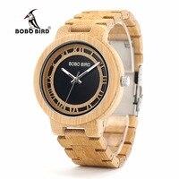 BOBO BIRD V- N19 Famous Brand Wristwatch Natural Bamboo Men's Dressed High Quality Quartz Movement Wrist Watch reloj hombre