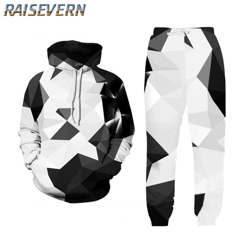 RAISEVERN Men's Tracksuit Casual Diamond Sportsuit Men Hoodies/Sweatshirts Sportswear Hooded+Pant Tracksuit Men Set 3D Clothing