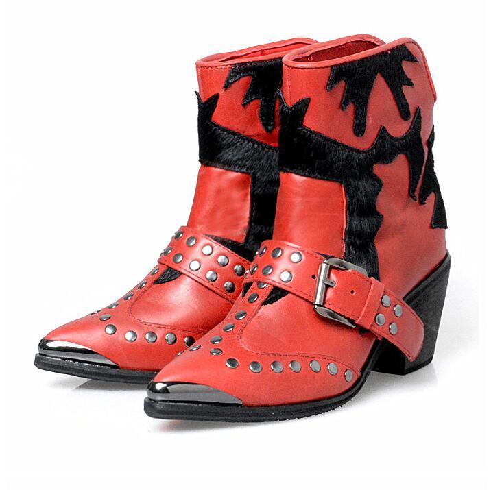In brown Talon talon In Crin black Pointu Med Chunky Boot Perfetto La Ceinture À Plush Rivets red Black Mode Leather Bout Les Pour Bootie Prova Femmes In Cuir In Métal Toe qwACn76