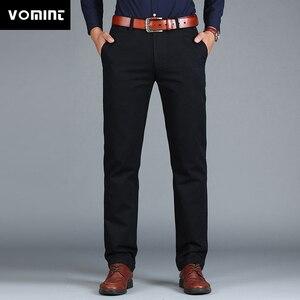 Image 1 - Vomint Neue männer Hosen Gerade Lose Beiläufige Baumwolle Mode Business Anzug Hosen Schwarz Blau Khaki Einfarbig Plus Größe 38 40 42