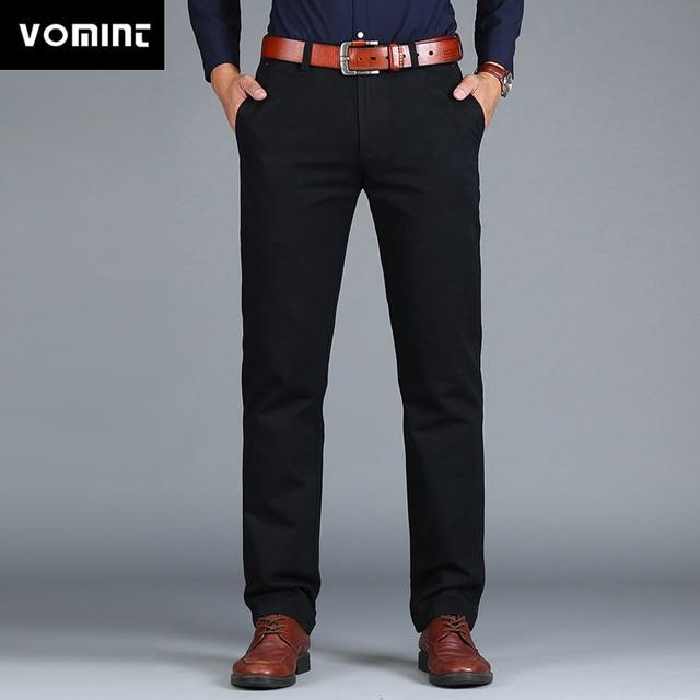Vomint Neue männer Hosen Gerade Lose Beiläufige Baumwolle Mode Business Anzug Hosen Schwarz Blau Khaki Einfarbig Plus Größe 38 40 42