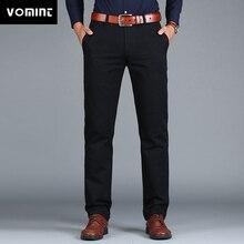 Vomint Pantalones rectos holgados de algodón para hombre, traje de negocios a la moda, Color negro, azul, caqui, Color sólido, de talla grande 38 40 42