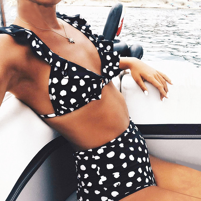 Polka Dot High Waisted Frill Bikini