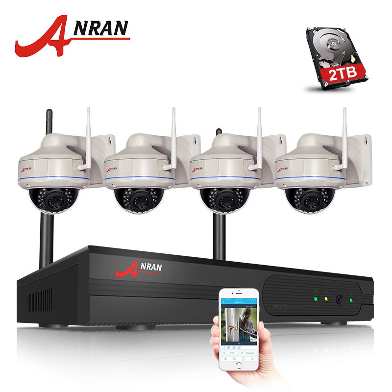 ANRAN 4CH Wireless NVR Kit 1080P 2.0 Megapixels Outdoor IR Vandal-proof Dome IP Camera WIFI Security Surveillance System 2TB HDD plug and play 8ch wireless nvr h 264 video surveillance kit 720p hd outdoor vandal proof ir dome wifi cctv camera system 2tb hdd