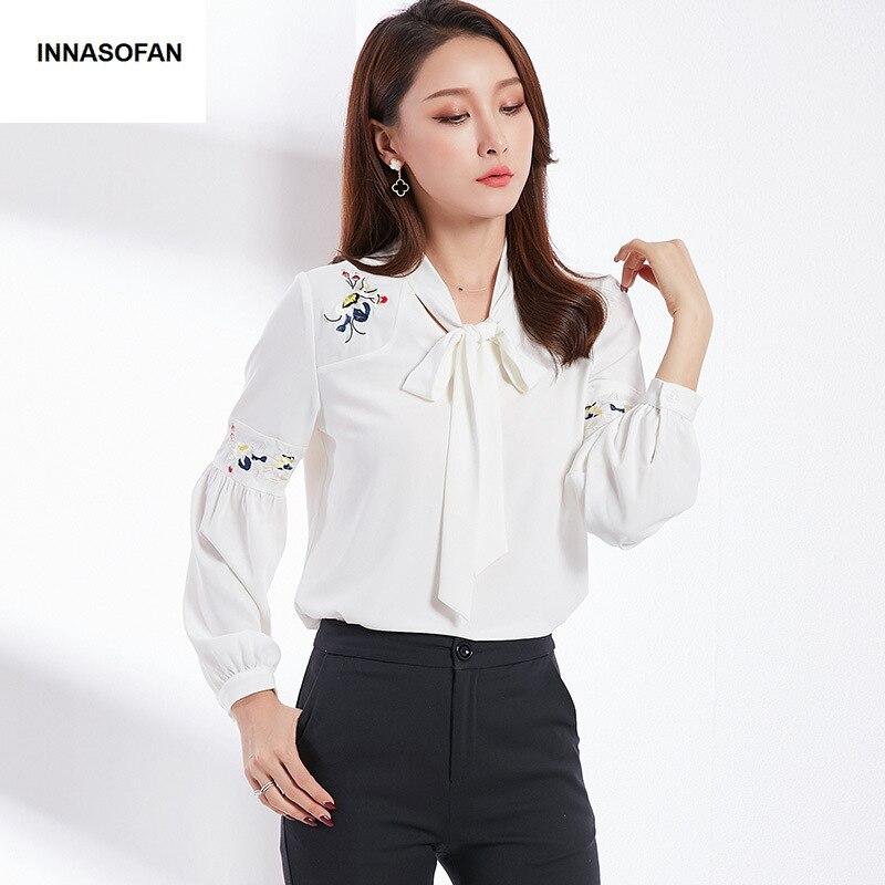 Primavera De Flores Bordado Blusa americano Euro Moda Innasofan Elegante Blanco Manga Larga Camisa Ol Y verano Gasa Mujeres qwSqgAHI