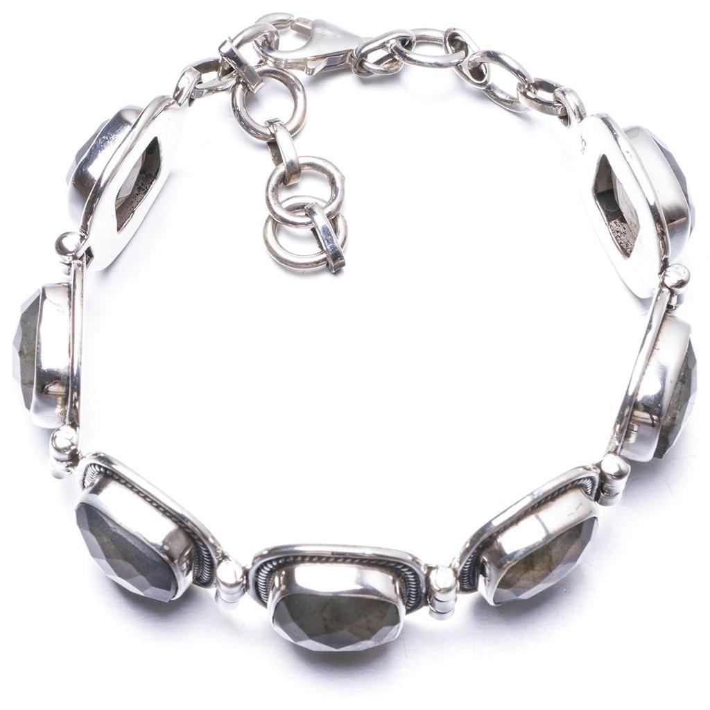 Natural Labradorite Handmade Unique 925 Sterling Silver Bracelet 6 3/4-7 3/4