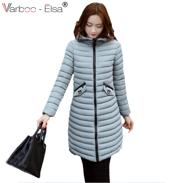 VARBOO_ELSA 2017 Light and Thin Warm Winter Coat Women Gray Cotton Hooded Overcoat Pocket Parka Wave Design Fashion Coat 5 Color
