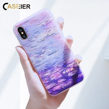 CASEIER For iPhone Water lilies Oil Painting Case 7 Plus 6 6s Art Printed Pattern Soft Clear Cover
