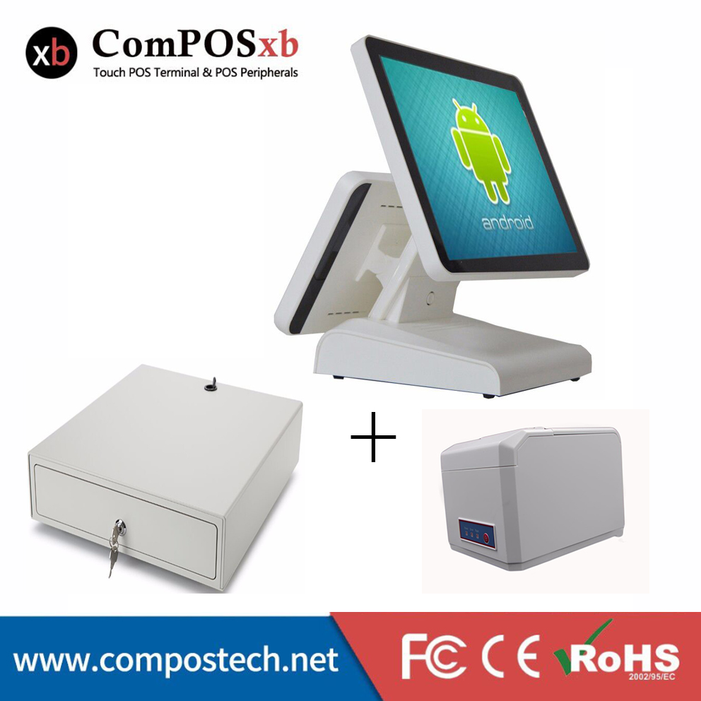 15 inch Android all in one pos system Dual screen touch cash register and 80mm thermal printer and 410mm POS cash drawer free shipping 15 touch screen all in one pos system cash register cashier pos machine