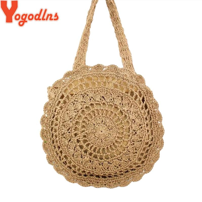 Yogodlns Rattan Bag Handbag Straw-Bags Bali Circle Cross-Body-Bag Woven Round Beach Summer