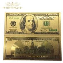 Wishonor 10 sztuk/partia kolorowe USA banknoty 100 banknotów dolara w 24 K Gold Plated pieniądze papierowe na prezenty