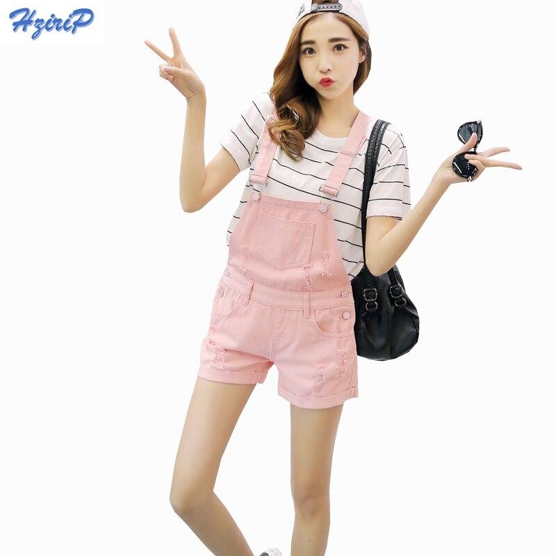 Hzirip 2018 New Summer Denim Shorts Women Loose Cowboy Pink Strap Shorts Jeans Hole Fashion College Wind Women Shorts Plus Size