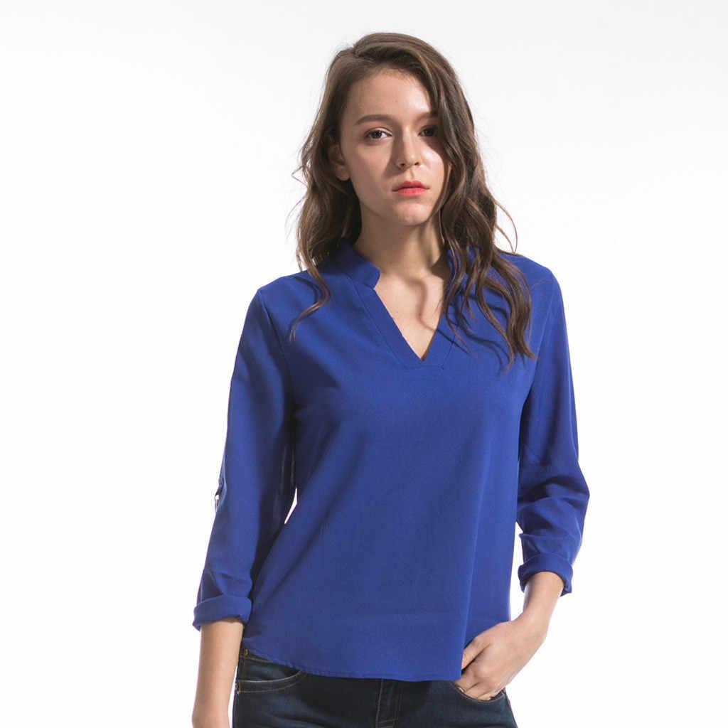 SAGACE nuevo Tops y blusas para mujer 6xl de moda de las mujeres de manga larga Camisa de gasa Tops cuello en V Casual Camisa blusa para las mujeres
