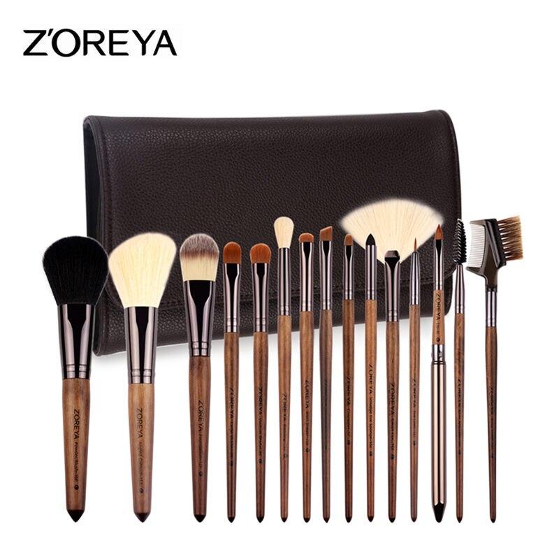 Zoreya Brand Hot Sales Lady Walnut Wood Make Up Brushes Set Goat Hair Foundation Brushes 15