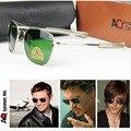 2017 Exército MILITAR AO Frame Da Liga de Óculos De Sol Dos Homens Lente De Vidro Óptico Americano Qualidade Piloto Óculos De Sol Com Caixa de Óculos De Sol
