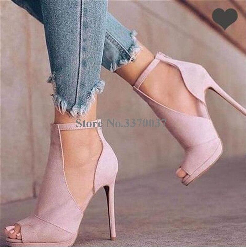 Pompes Bretelles Pink Mode Club Cuir Zipper Suédé Robe Talon Toe Retour Mince Dames Chaussures Talons Découpe Cheville up Rose Nouvelle Peep Haute En PnAx4qaB