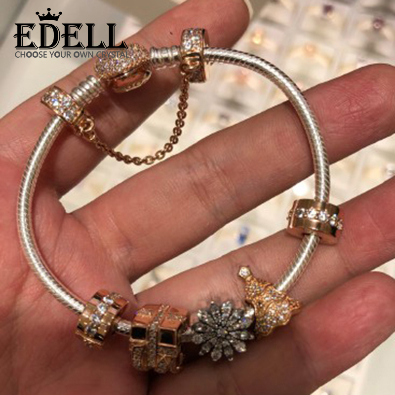 EDELL 100% 925 Sterling Silver NEW Christmas Bracelet Set Christmas Tree Snowflake Charm Original Jewelry Women Gift edell 100% 925 sterling silver new charm cute cow beaded exquisite lucky women gift original jewelry factory direct sales 797609