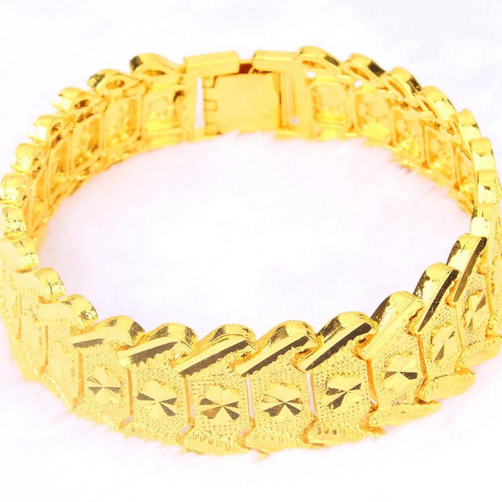Эффектный браслет желтое золото заполненный хип хоп мужской