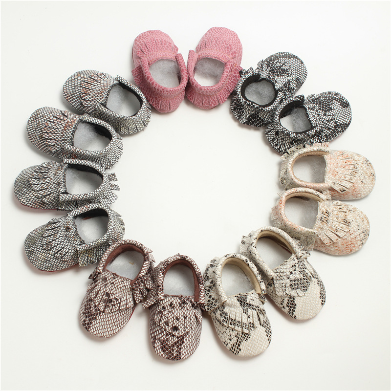 Genuine Leather Baby Moccasins Snake Grain Soft Bottom Baby Boys Girls Shoes First Walkers Free Shipping 0-24M