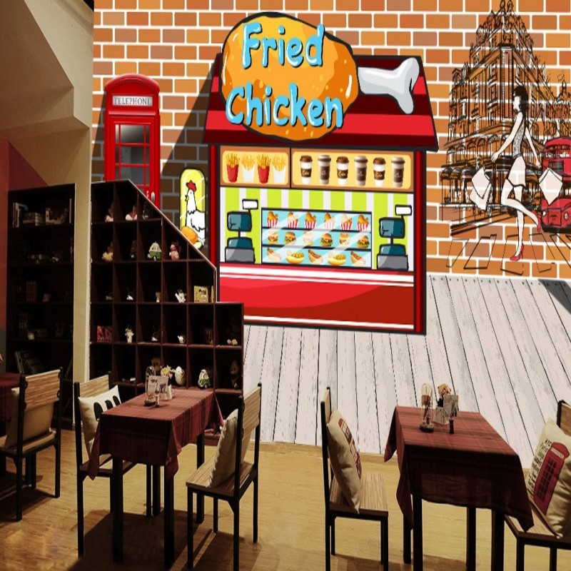 Custom 3d wallpaper  Fashion hand painted fried chicken burger Fast food restaurant decorative murals wallpaper fast food leisure fast food equipment stainless steel gas fryer 3l spanish churro maker machine