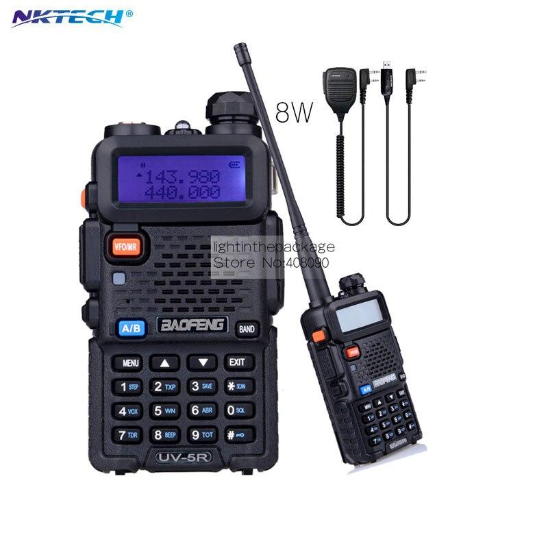imágenes para Nktech poder más elevado 8 w baofeng uv5r uv-5r plus vs uv82two hermana de radio bidireccional portátil de radio walkie talkie + mic altavoz + cable usb