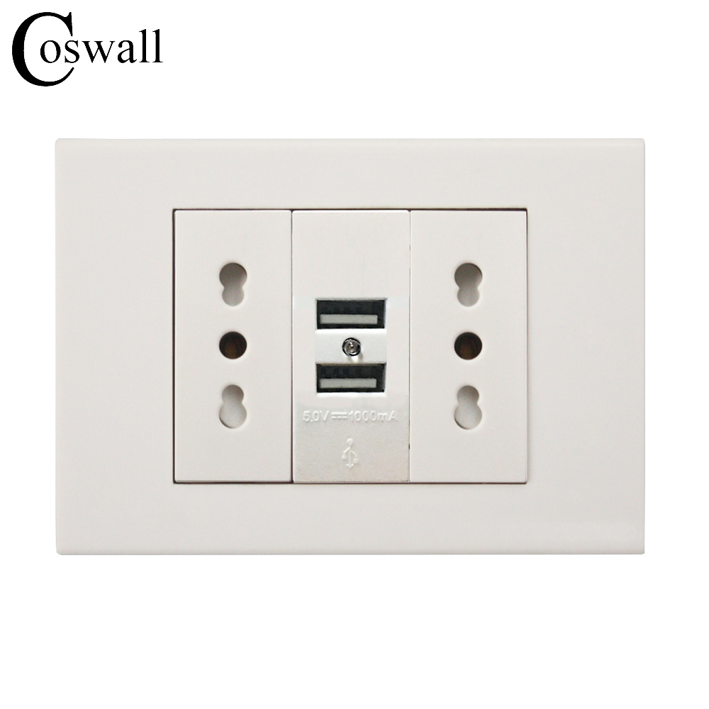 Coswall Wall Power Socket Plug, Double Italian / Chile Electrical Outlet With...