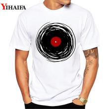 Men T Shirt Black Vinyl Records Graphic Tee Personality 3D Print T-Shirts Hip Hop Creative Man Casual White Tops
