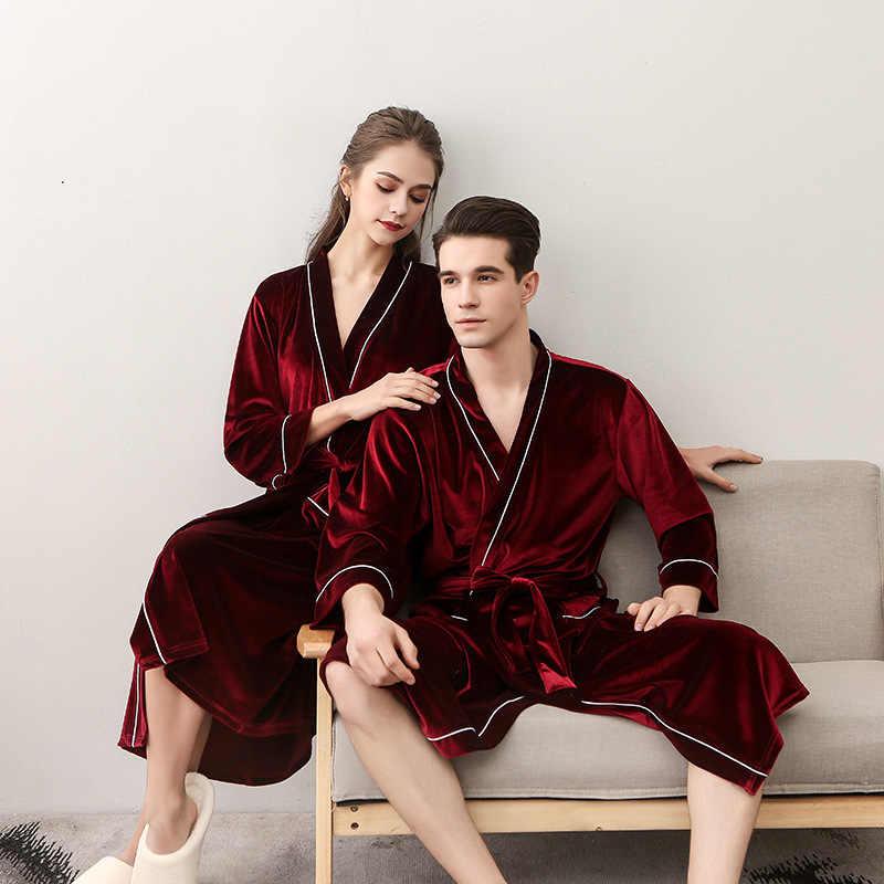 7eac6a42ba ... Autumn Winter New Women Velvet Robe Gown Quality Velour Kimono Kaftan  Lovers Couple Sleepwear Nightgown Men ...