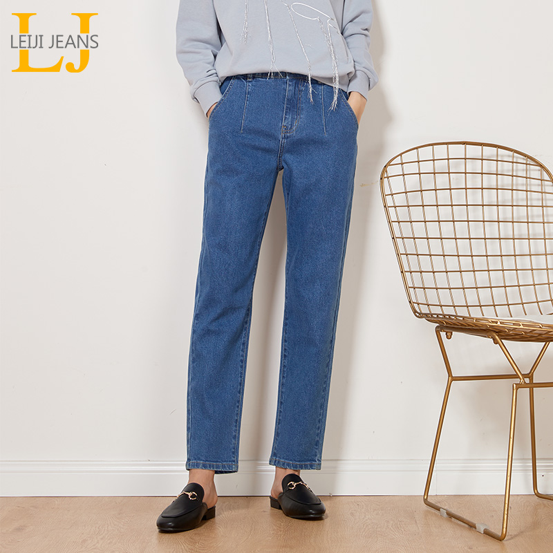 LEIJIJEANS New Arrival Vintage women   jeans   Spring plus size fashion high waist light blue full length for women   jeans   9005