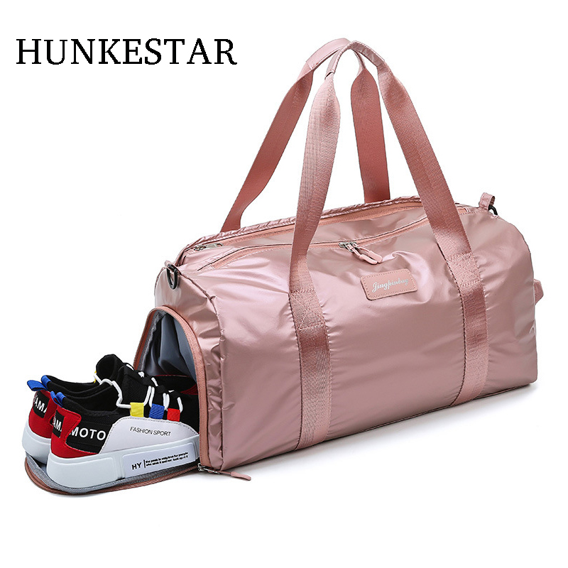 21fae6b902dab cheap waterproof oxford Women Gym Bag with Shoes Compartment for Sports  Swim Travel fitness Duffels Pink men sports bags