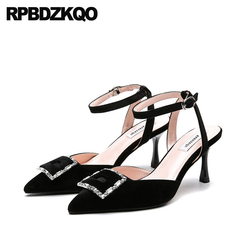 Pink Crystal Shoes Ankle Strap Pointed Toe Pumps Slingback Velvet Wine Red Rhinestone Sandals Black Wedding High Heels Summer summer new pointed thick chunky high heels closed toe pumps with buckle ankle wraps sweet sandals women pink black gray 34 40