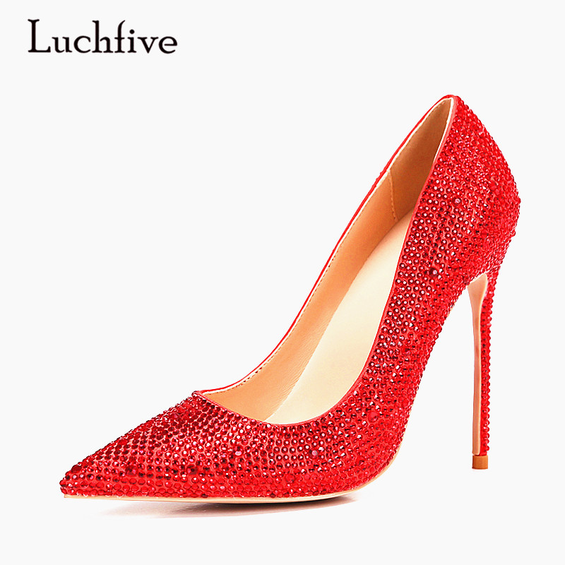 Luchfive Crystal High Heels Ladies Party Wedding Shoes Red Silver Black Women Pumps rhinestones Pointed Toe Mules Shoes Woman luxury shoes women sliver wedding shoes pumps pointed toe gold party extreme high heels bling silver evening ladies shoes 8 6005