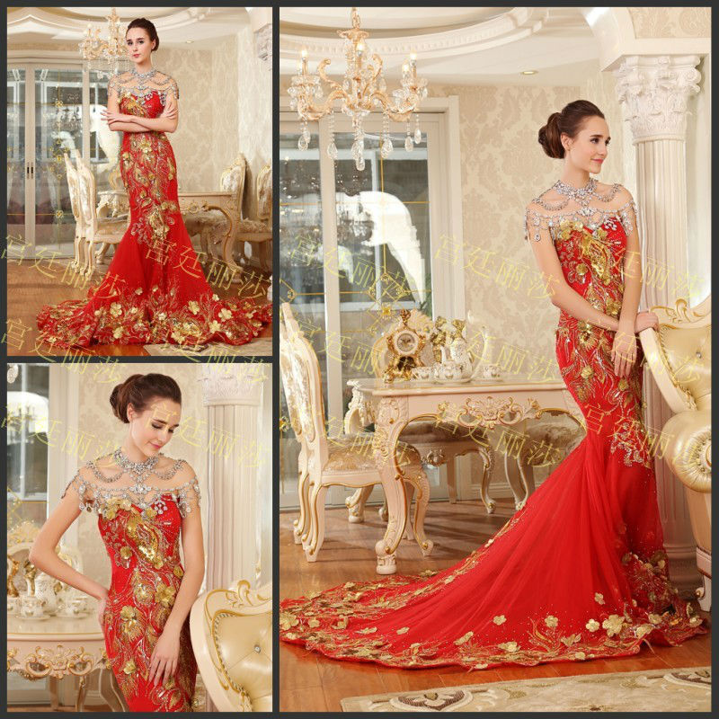 Luxury Gold Peacock Embroidery On Red Formal Evening Gown Mermaid