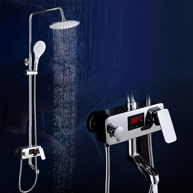 LED screen digitat Display Shower Faucet brass Water Powered ...