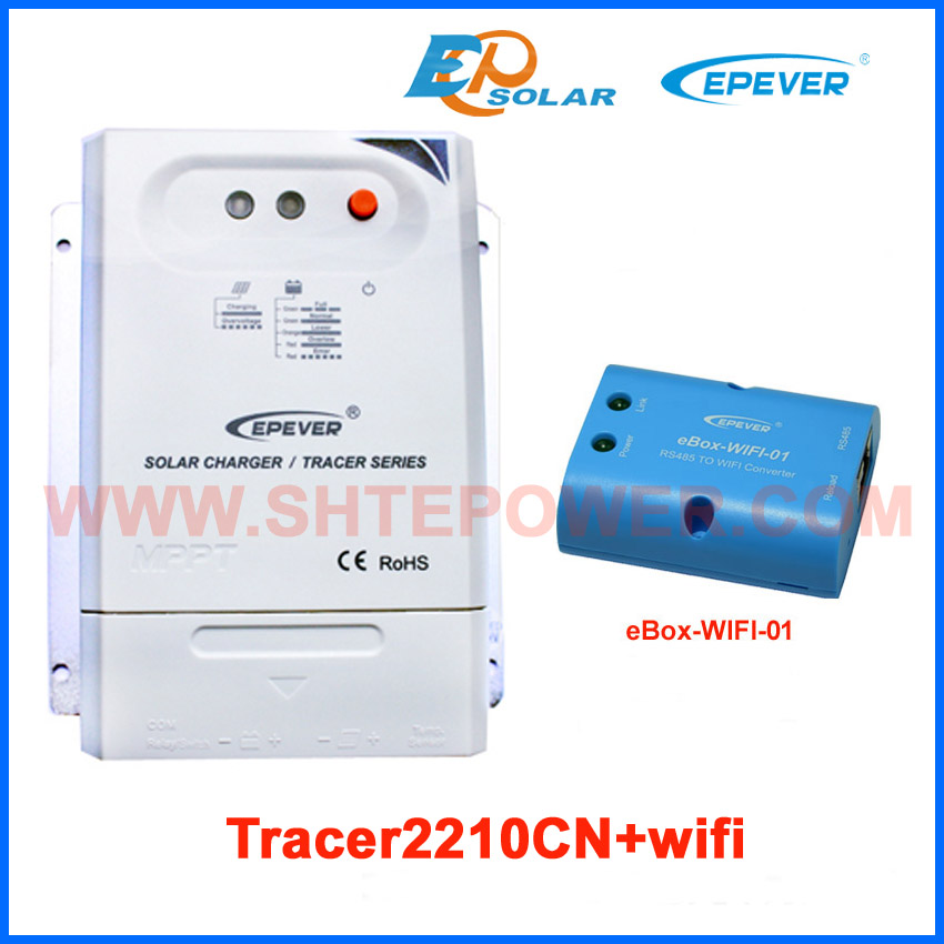 MPPT Tracer2210CN 20A 20amp solar charger controller with eBOX-Wifi-01 12V 24V auto work Max PV input 100A EPEVER EPSolar wifi box for android app connect use solar panel controller tracer2210cn 12v 24v auto work with usb cable 20a