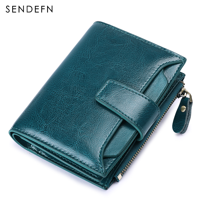 2018 New wallet Europe and America Women Zipper Bifold Oil Wax Quality Wallet Brand Button Short Style Womens Purse For Rfid