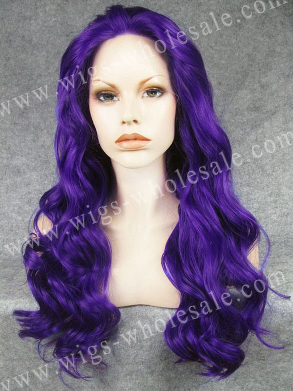 ФОТО Heat resistant fiber synthetic long wavy purple cosplay lace front wig