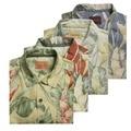 Шелковый коротким рукавом гавайских мужская одежда рубашки повседневные