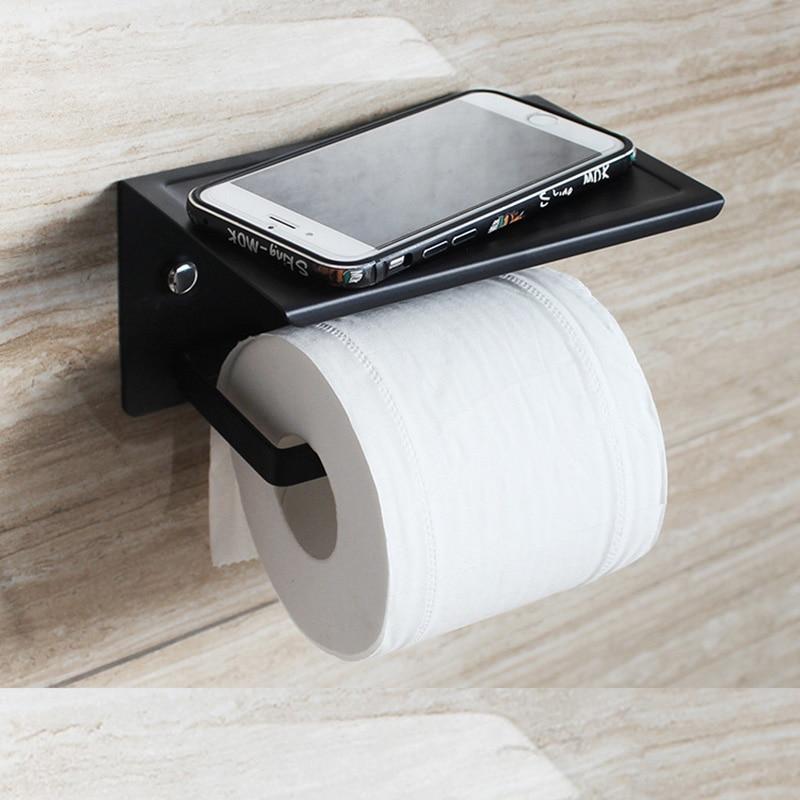 washing room  stainless steel shelf Toilet Paper Holder Towel with Shelf Mobile Phone Toilet Roll Holder Tissue Holder  WC
