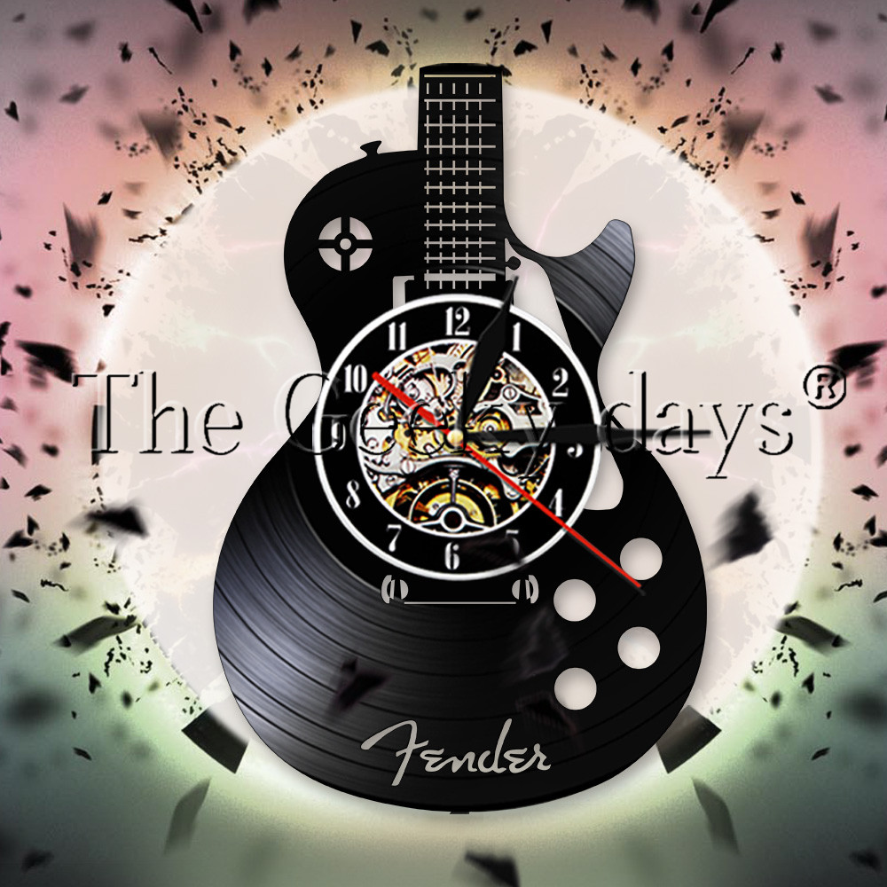 Acoustic Guitar Record Wall Clock Musical Instrument Rock N Roll Decor Watch Guitarist Music Lover Gift Clocks For