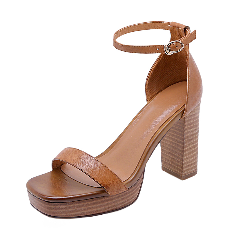 2019 Genuine Leather Sheepskin Sandals Chunky High Heels Classic Shoes Woman Elegant Party Lady Sandals Women Shoes2019 Genuine Leather Sheepskin Sandals Chunky High Heels Classic Shoes Woman Elegant Party Lady Sandals Women Shoes