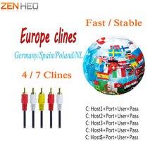 Melhor HD AV Cable Europa Cline 1 ano Clines Server 4 ou 7 linhas de TV Por Satélite Receptor DVB-S2 Decodificador Espanha Alemanha NL V7
