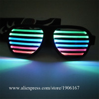 RGB Colorful Led Luminous Party Glasses Flashing Voice Control Led Christmas Halloween Sunglasses Led Stage Props