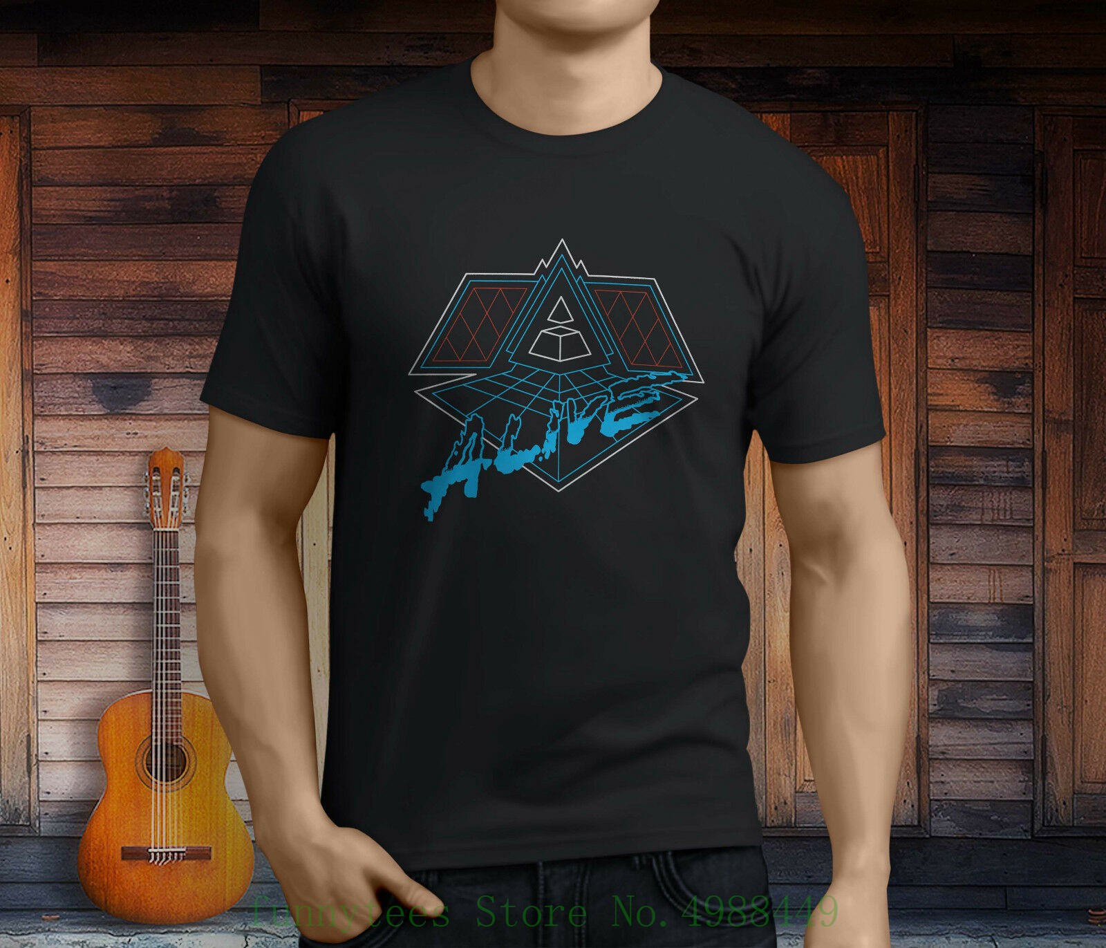 New <font><b>Daft</b></font> <font><b>Punk</b></font> Alive Electro Music Men's Black <font><b>T</b></font> <font><b>Shirt</b></font> Size S - 3xl Tee <font><b>Shirts</b></font> Men O-neck Tees image