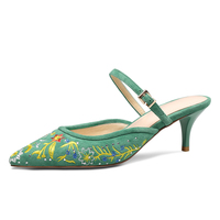Summer Style Women Mules 5.5 CM High Heels Green Leather Pointed toe Slippers Sexy Ladies Party Pumps Box packing 1581