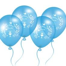 50 штук, 10 дюймов, голубые воздушные шары для испанских мальчиков, вечерние шары для Первого Святого Причастия, розовые воздушные шары с декором Mi Primera Comunion