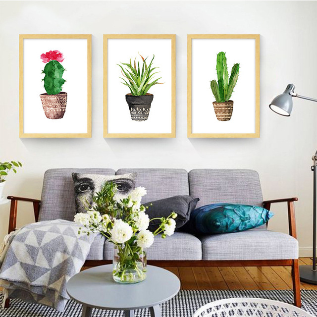 Simple Cactus green plant Canvas Prints Cartoon Painting Bedroom ...