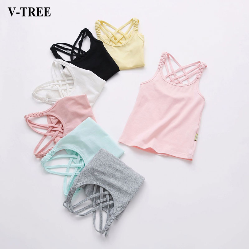 Summer T Shirt For Girls Candy Color Children Tops Teenage Clothes Cotton Kids T-shirts 1-14years Camisole Baby Undershirt