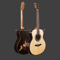 Full Solid Guitar,36 Solid Spruce Top/Rosewood Body,Travel guitar Portable Mini guitar + 20mm cotton bag,(Cupid's Arrow)